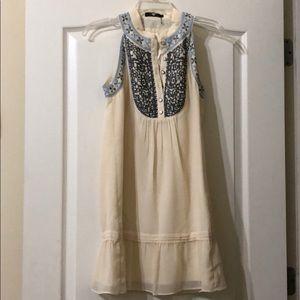 THEME cream embroidered sleeveless dress sz S
